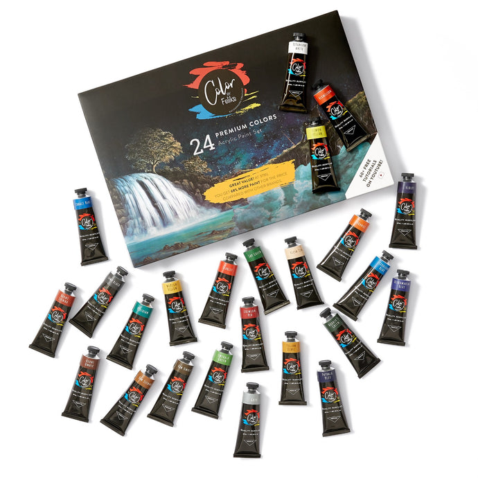 ColorByFeliks Acrylic Paint Set, 24 Large Tubes