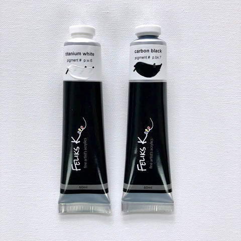 Feliks K. Fine Artist's Acrylic Paints (Carbon Black + Titanium White) - BACKORDER