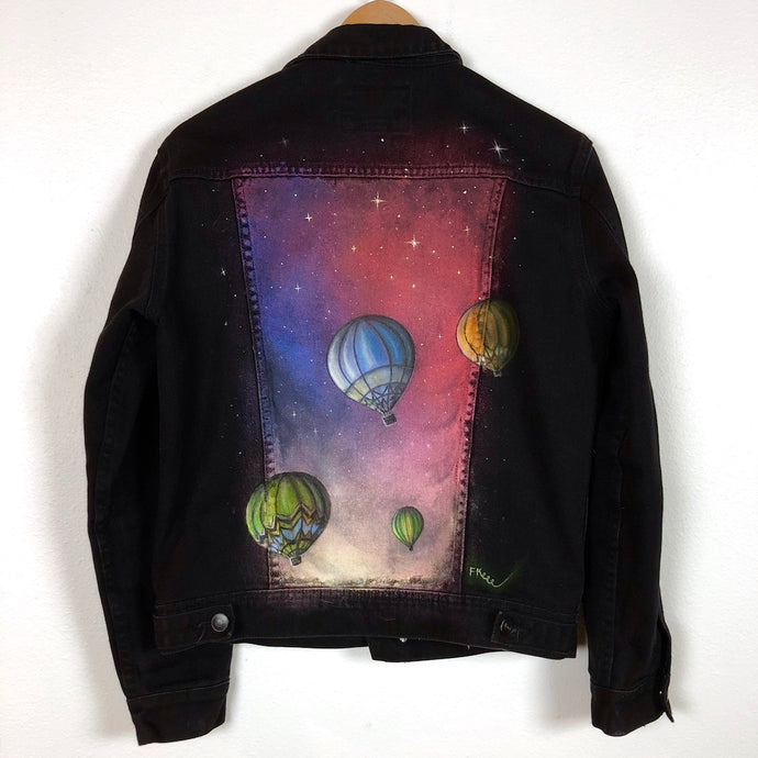 ColorByFeliks Unisex Original Painted Black Jean Jacket-Size Men's M