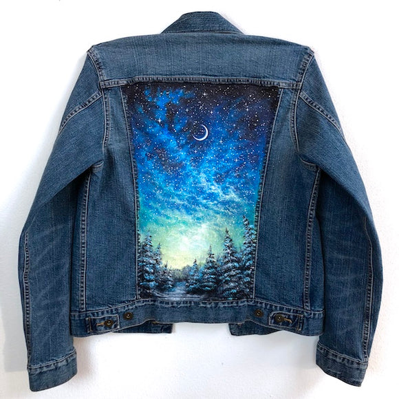 ColorByFeliks Original Jean Jacket Painting-Women's XS