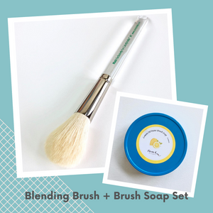 M1 Goat Hair Blending Brush + Handmade Brush Soaps SET