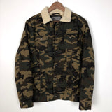 Men's Painted Camo Jean Jacket with Sherpa Collar-Size Small