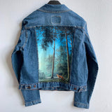 Original Levi's Painted Jean Jacket-Women's Size Large Fox in the Forest