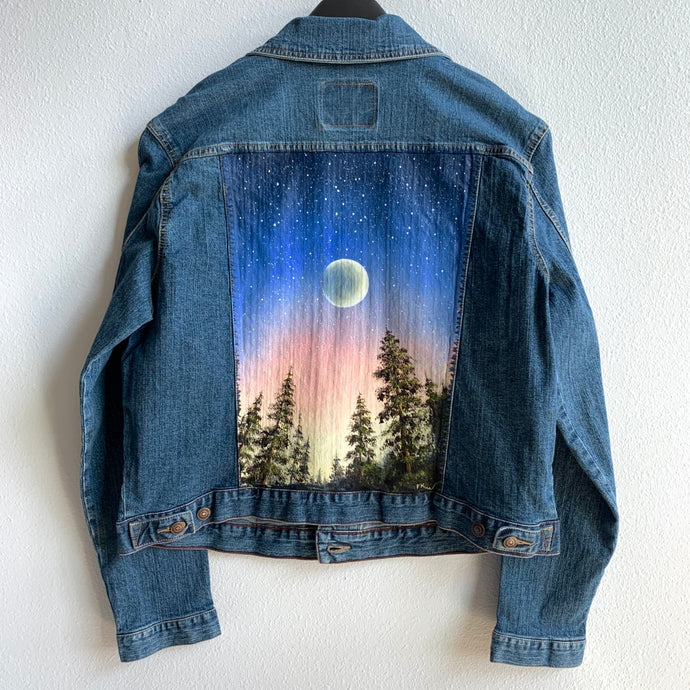 Original Levi's Painted Jacket - Women's Size XL - Moon, Star and Evening Sky