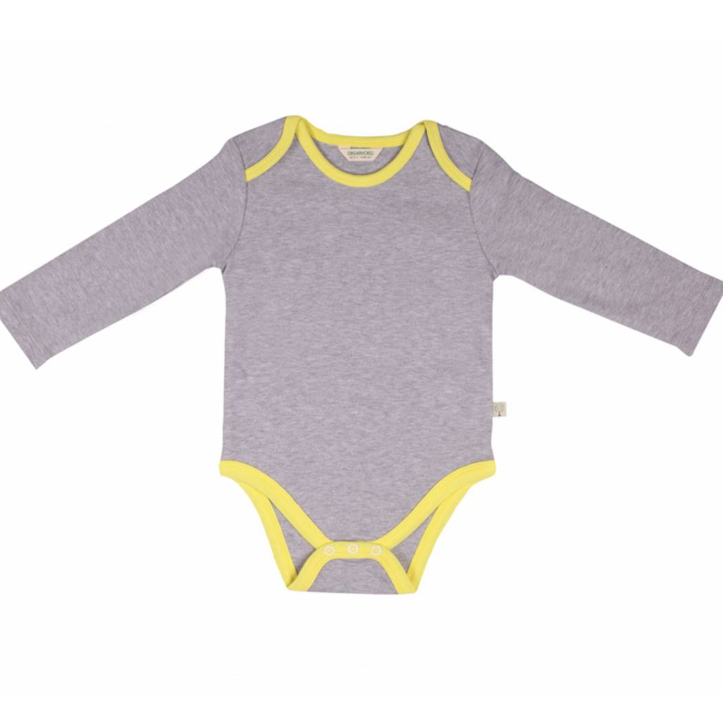 Grey Bodysuit Long Sleeve organic cotton - Bellelis Australia