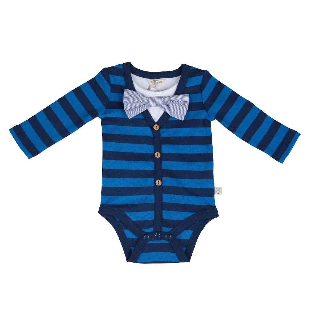 Trendy Long Sleeve Blue Bodysuit - organic cotton - Bellelis Australia