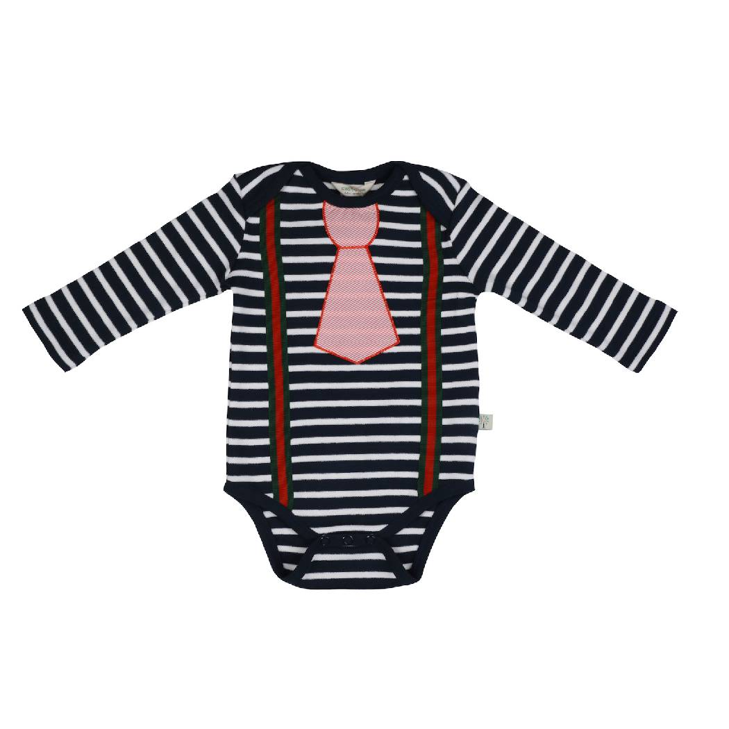 Trendy Long Sleeve Blue Bodysuit with Tie - organic cotton - Bellelis Australia