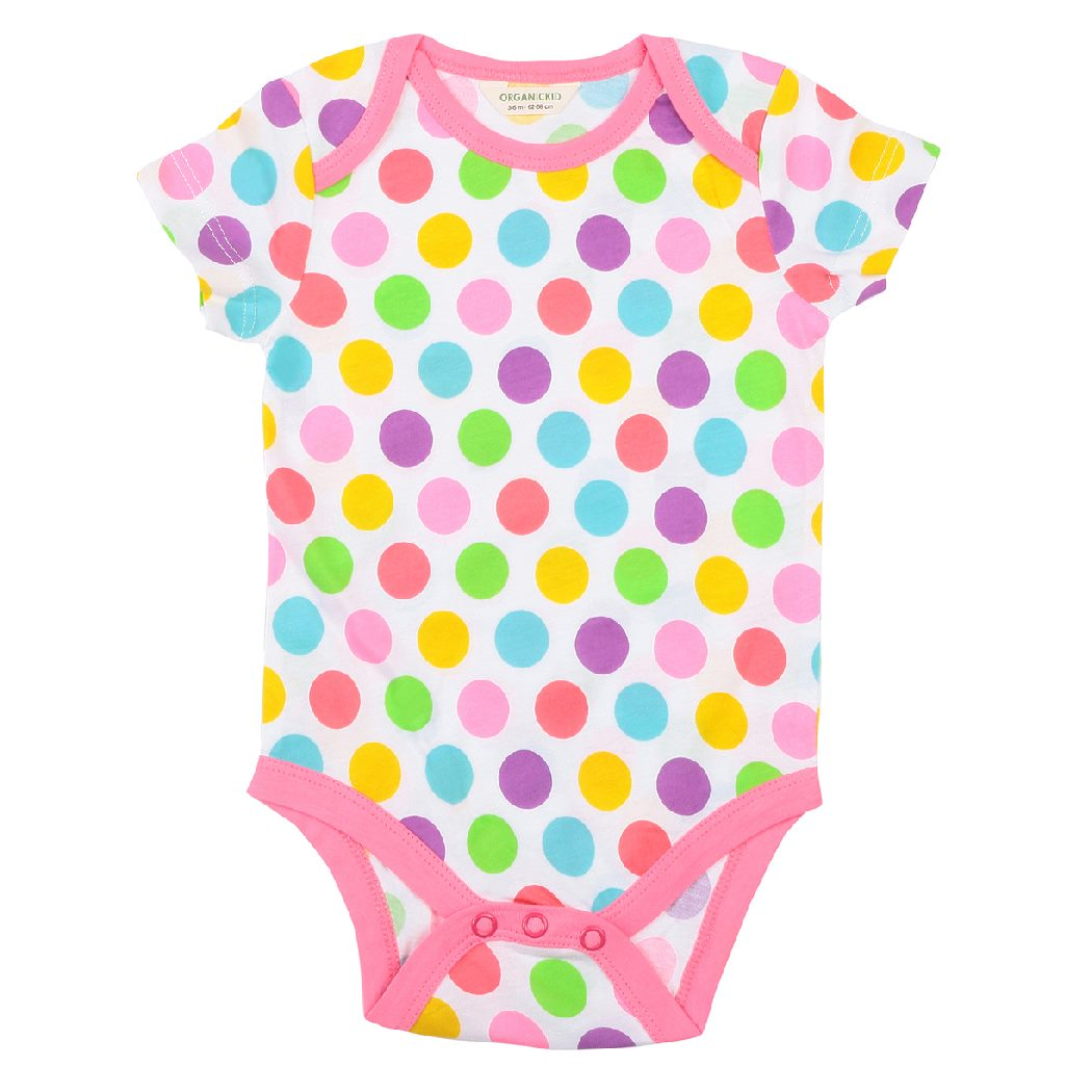 Dots Bodysuit Short Sleeve organic cotton - Bellelis Australia
