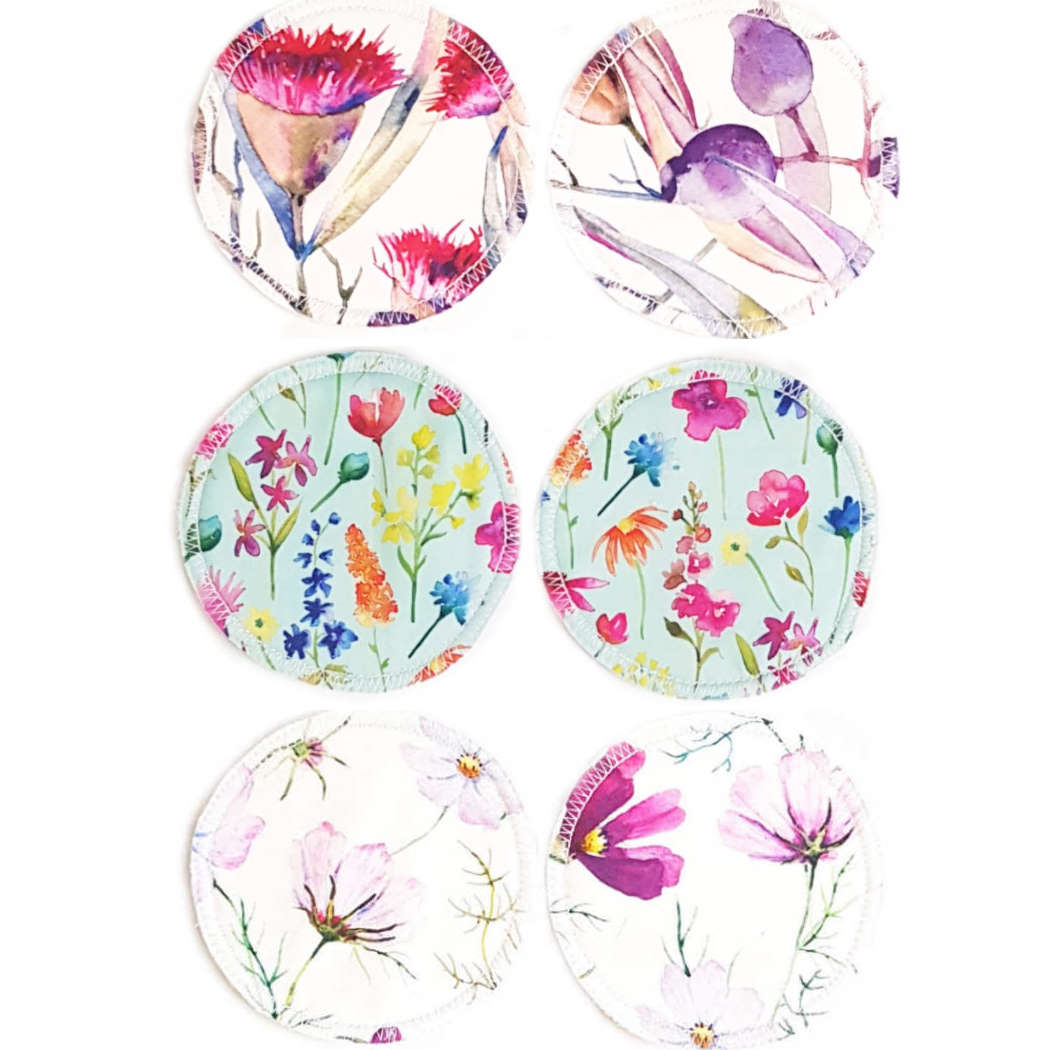 Reusable, Absorbent, Leak-proof Nursing Pads Set - Light Floral MIX