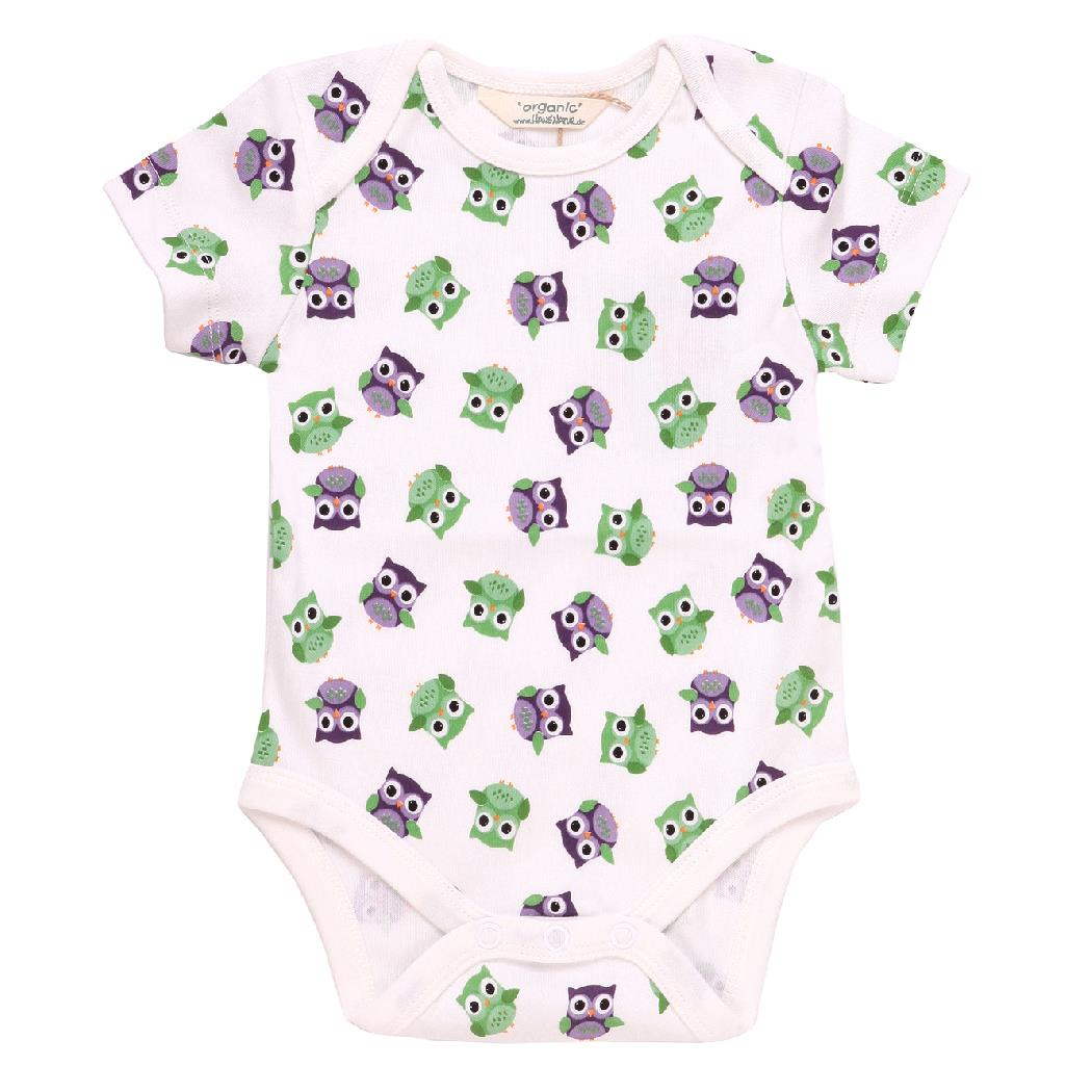 Owls Bodysuit Short Sleeve organic cotton - Bellelis Australia