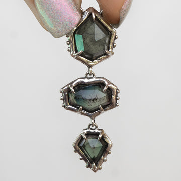 PRE-ORDER FOR CLAUDIA- 3 Stone Tourmaline Silver Necklace