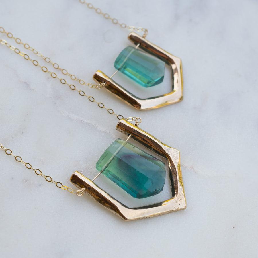 ARIEL Teal Fluorite Bronze Necklace