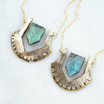HELIX Labradorite Bronze Necklace