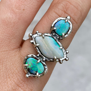 PRE-ORDER FOR SAMANTHA- Triple Opal Ring Sz 8