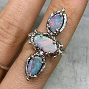PRE-ORDER FOR ASH- Triple Opal Ring Sz 7