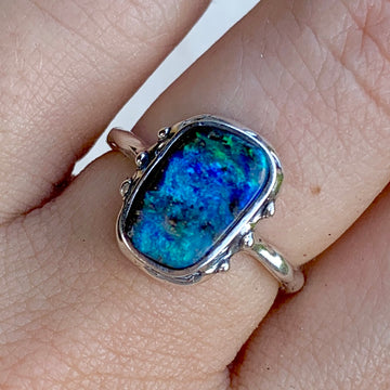PRE-ORDER FOR JENNIFER- Rectangle Opal Ring Sz 7.5
