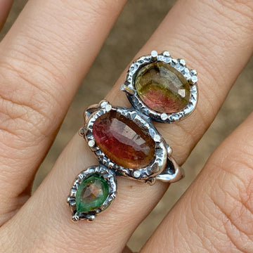 PRE-ORDER FOR DIANA- Watermelon Tourmaline Ring- Sz 9