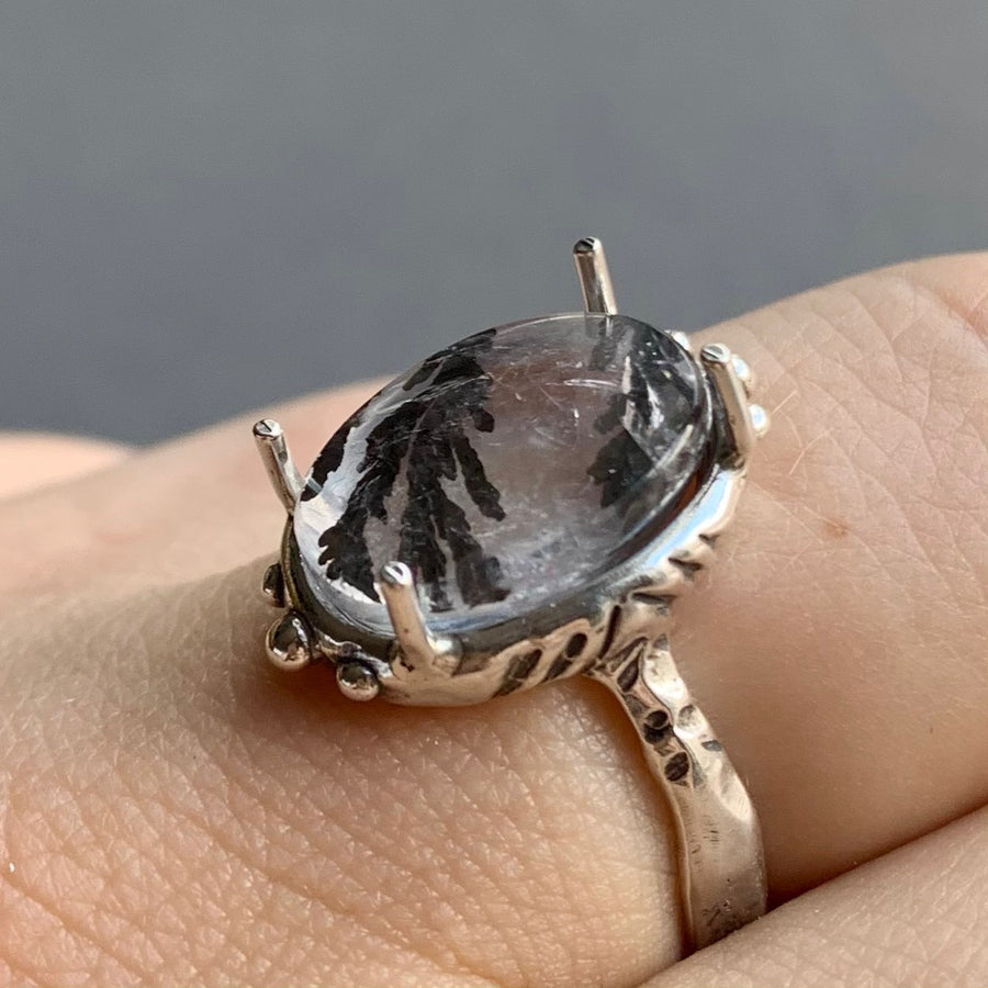 PRE-ORDER FOR LIZ- Dendritic Quartz Ring- Sz 8