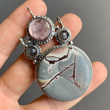 PRE-ORDER FOR ALY - Sonoran Dendritic Rhyolite & Lepidolite Pendant
