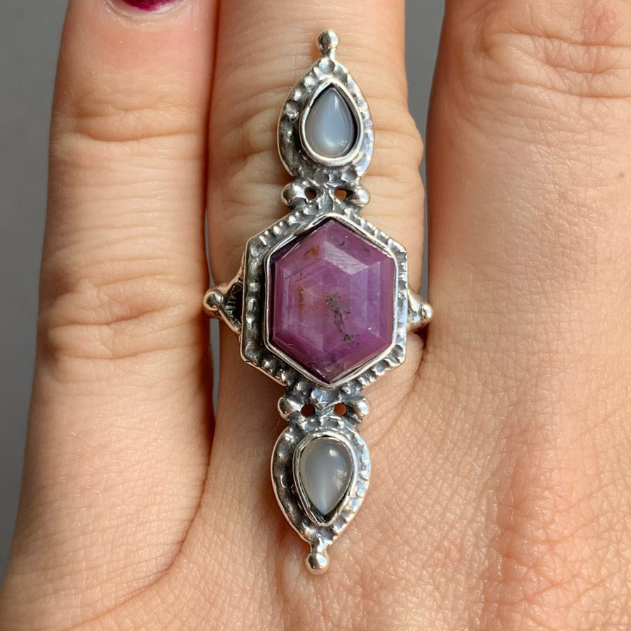 PRE-ORDER FOR ALY- Sapphire & Grey Moonstone Ring- Sz 7.5