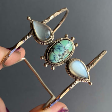 PRE-ORDER FOR GRACE- Tortoise Variscite & Grey Moonstone Cuff