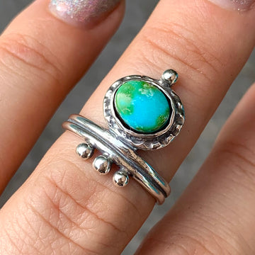 PRE-ORDER FOR CLAUDIA- Sonoran Gold Turquoise Ring- Sz 7.5