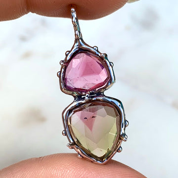 PRE-ORDER FOR LIZ- Pink & Yellow Tourmaline Pendant