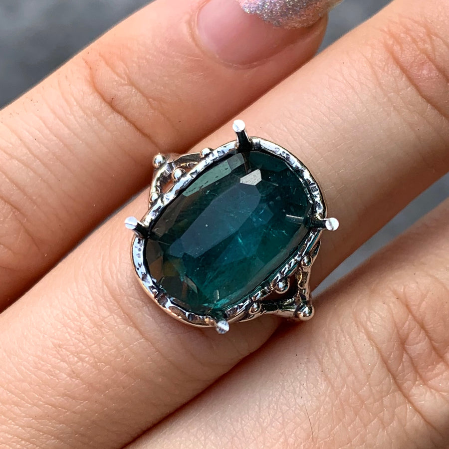 PRE-ORDER FOR FERN- Indicolite Tourmaline Ring- Sz 7