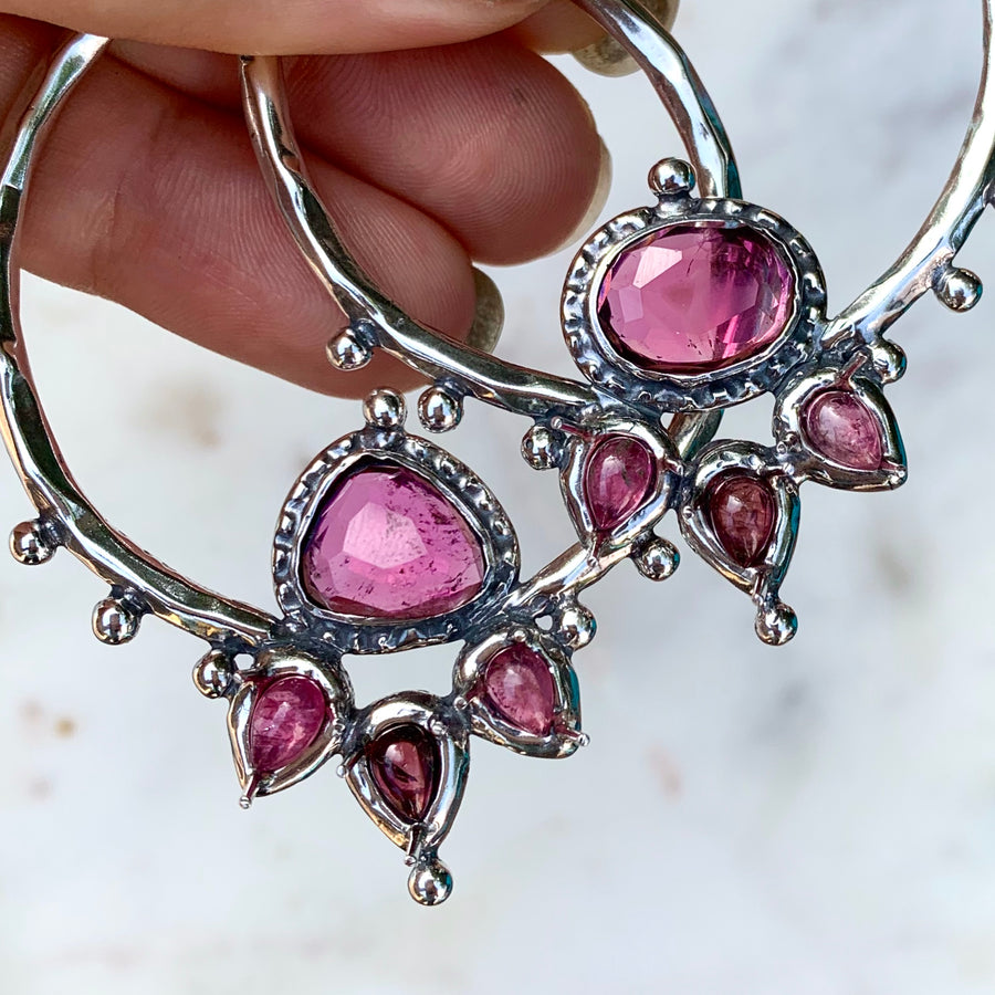PRE-ORDER FOR EMILY- LOTUS Pink Tourmaline Silver Earrings