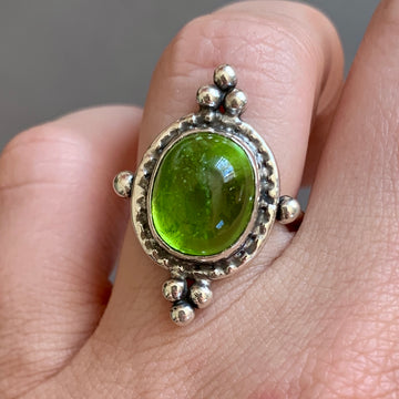 CUSTOM ORDER FOR KITTI- Peridot Ring- Sz 7