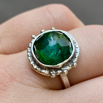 PRE-ORDER FOR DANIELLE- Green Tourmaline Round Ring- Sz 7