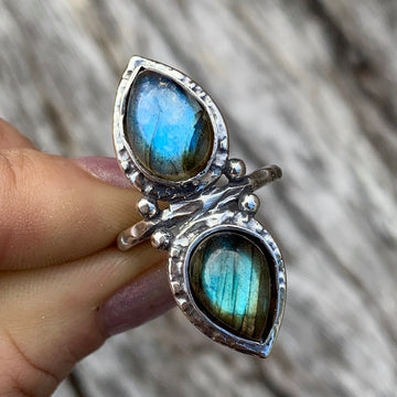 PRE-ORDER FOR JENNIFER- Double Labradorite Ring- Sz 7
