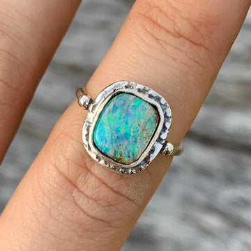 PRE-ORDER FOR Monica- Australian Pipe Opal Ring-Sz 7