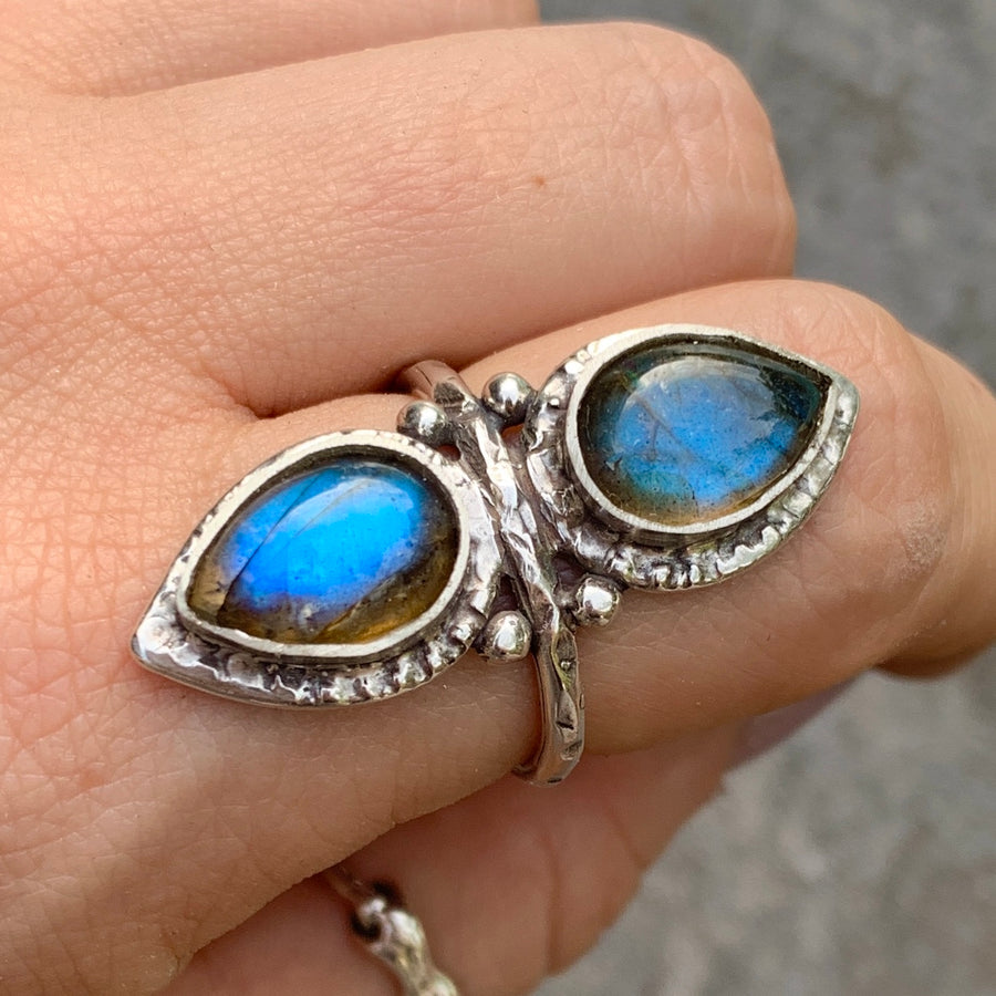 PRE-ORDER FOR EMILY- Double Labradorite Ring- Sz 9
