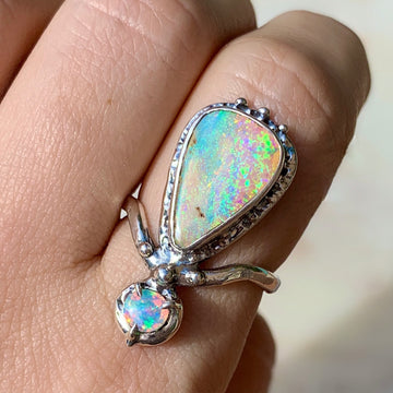 PRE-ORDER FOR PAM- Double Pipe Opal Ring-Sz 9