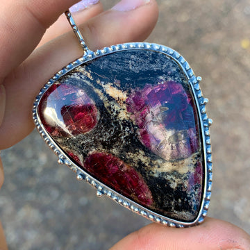 PRE-ORDER FOR JAIME- Eudialyte Silver Statement Pendant