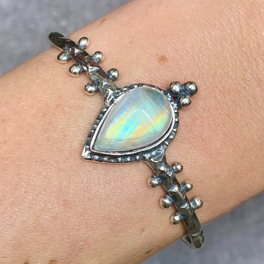 PRE-ORDER FOR EMILY- Rainbow Moonstone Cuff Bracelet