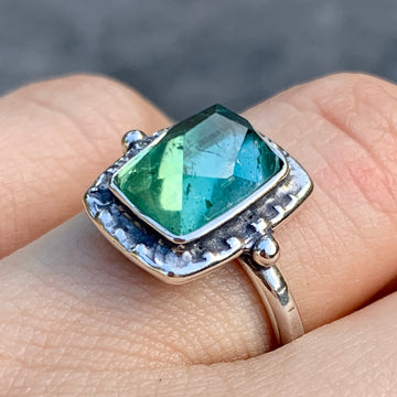 PRE-ORDER FOR LESLIE- Paraiba Tourmaline Ring- Sz 7