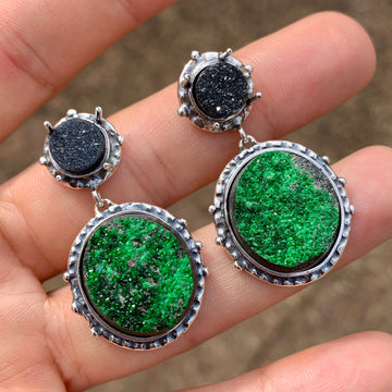 PRE-ORDER FOR OKSANA- Uvarovite & Agate Drusy Earrings