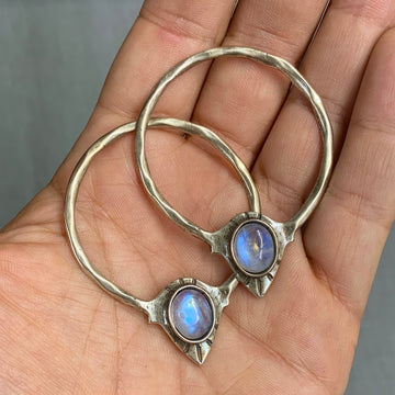 CUSTOM ORDER FOR DIANA- RAJ Moonstone Hoop Earrings