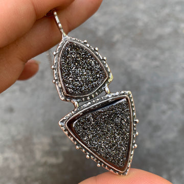 PRE-ORDER FOR NATHAN- Black Drusy Silver Pendant