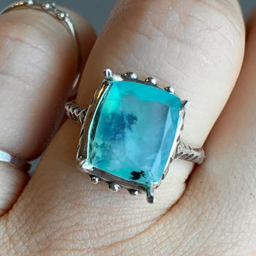 PRE-ORDER FOR SHELS- Faceted Peruvian Opal Ring- Sz 7