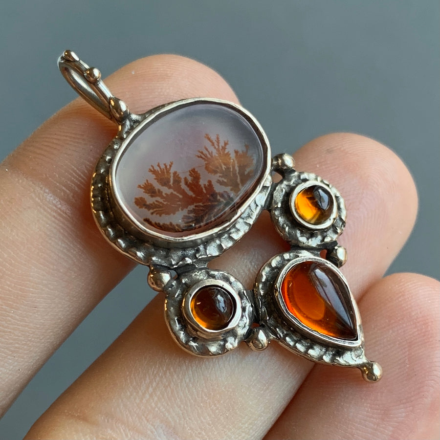 PRE-ORDER FOR DIANE- Dendritic Agate & Baltic Amber Bronze Pendant