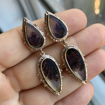 PRE-ORDER FOR LISA- Dendritic Agate Bronze Earrings
