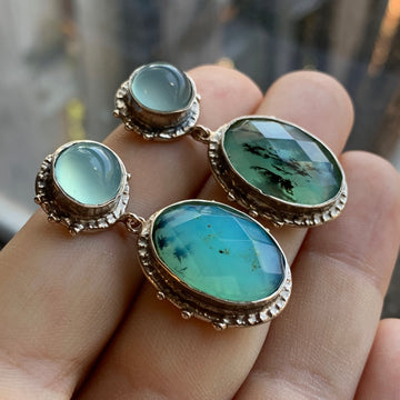 PRE-ORDER FOR CAITLIN- Peruvian Opal Bronze Earrings