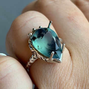 PRE-ORDER FOR AMBER- Faceted Peruvian Opal Ring- Sz 7