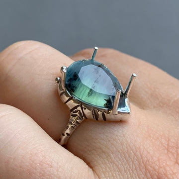 PRE-ORDER FOR LIZ- Faceted Peruvian Opal Ring- Sz 8.25