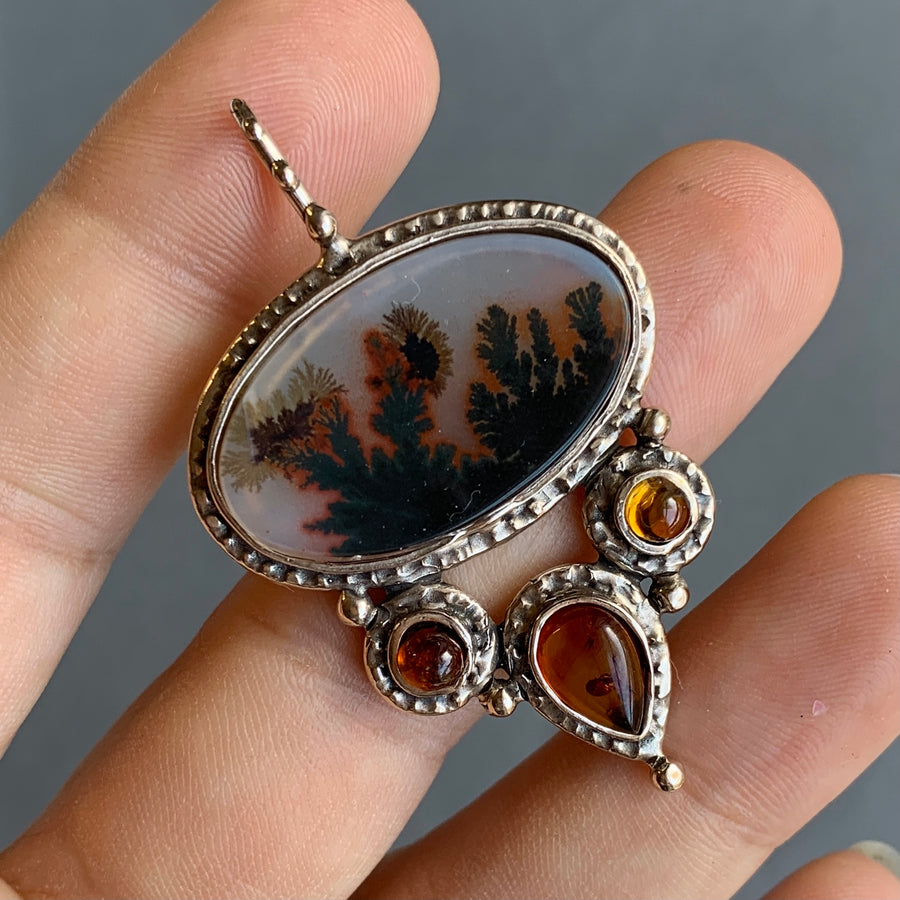 PRE-ORDER FOR ROSITA- Dendritic Agate & Baltic Amber Bronze Pendant
