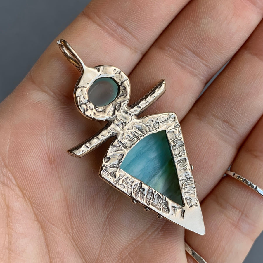 PRE-ORDER FOR CRISTINA- Opalized Wood & Chalcedony Pendant