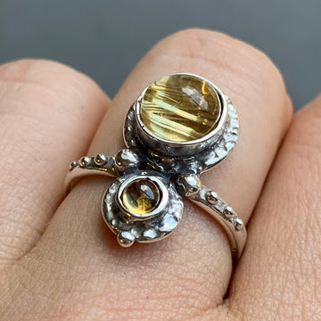 PRE-ORDER FOR EMILY- Rutilated Quartz & Tourmaline Ring- Sz 8.5